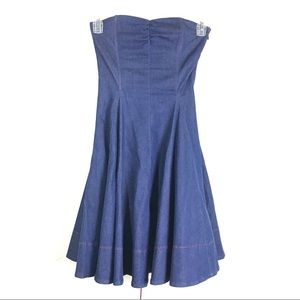Rare!! Betsey Johnson Strapless Denim Dress Size 4